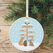 Ceramic Keepsake Our Family Christmas Tree Decoration - Signpost Design
